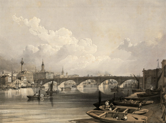 William Simpson, London Bridge – from above Bridge, 1852.
